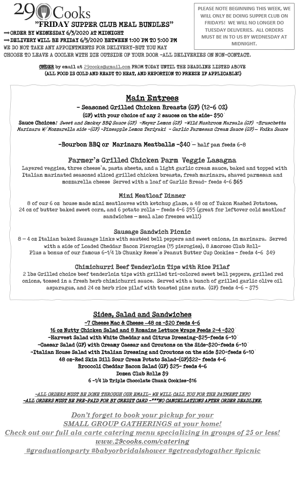 Non-Contact Weekly Meal Menu Delivery 1